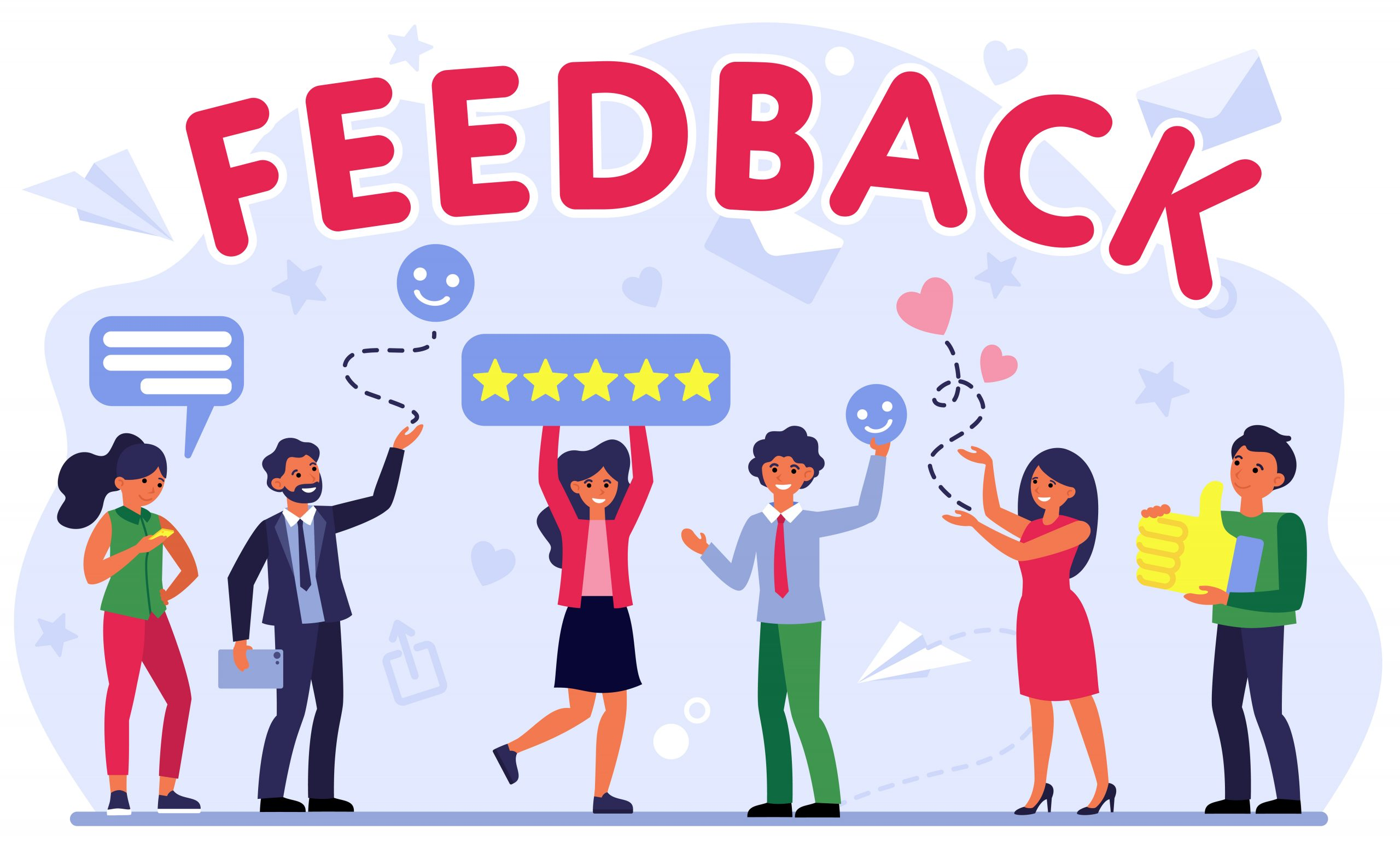 Customer feedback assessment flat vector illustration. Smiling people voting and giving comments to CRM. Reviews and advices concept